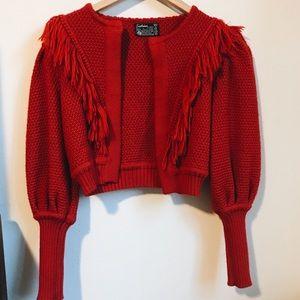 Vintage   Red cropped sweater w/ fringe 100% wool